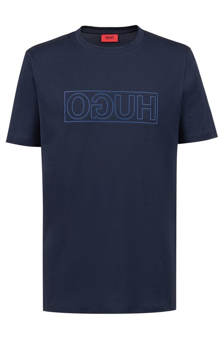 T-shirt van katoen met ronde hals en gespiegelde logoprint, Donkerblauw
