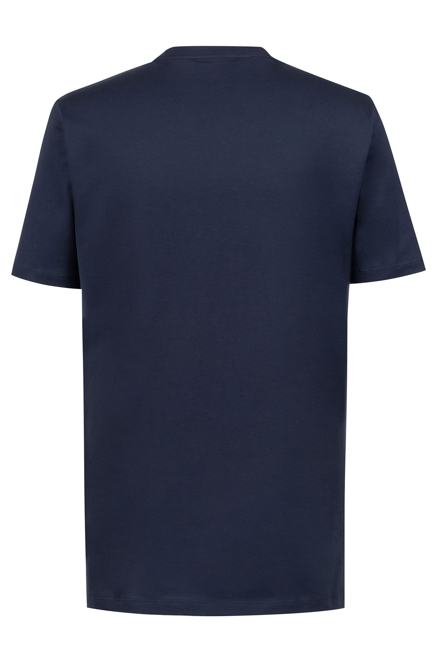 Crew-neck T-shirt in cotton with reverse-logo print, Dark Blue