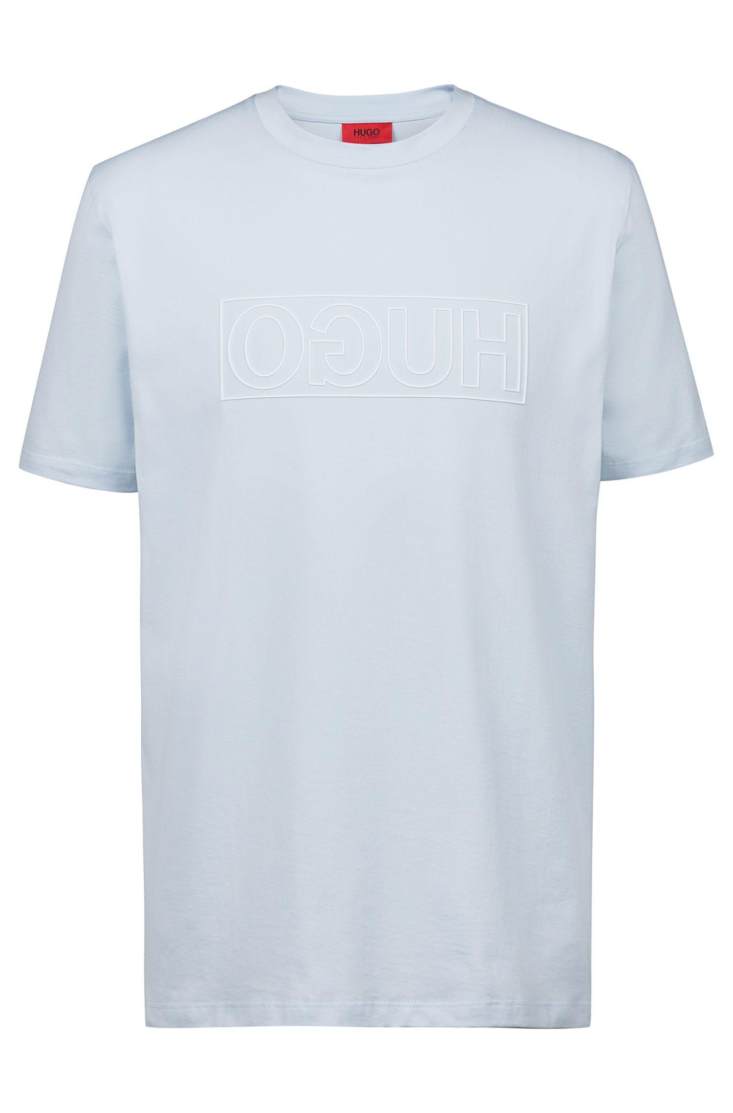 T-shirt a girocollo in cotone con stampa del logo a rovescio, Celeste