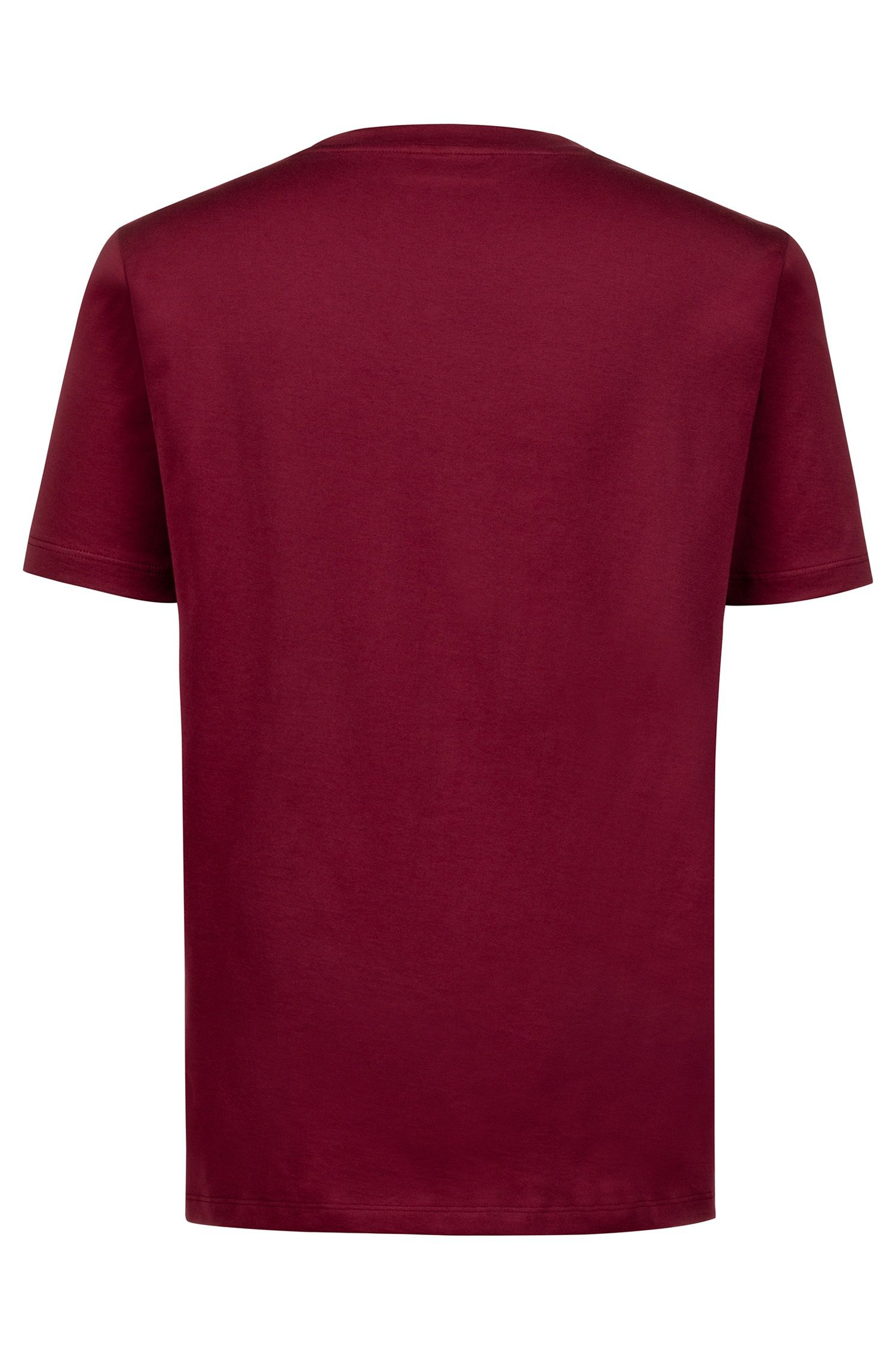 Crew-neck T-shirt in cotton with reverse-logo print, Dark Red