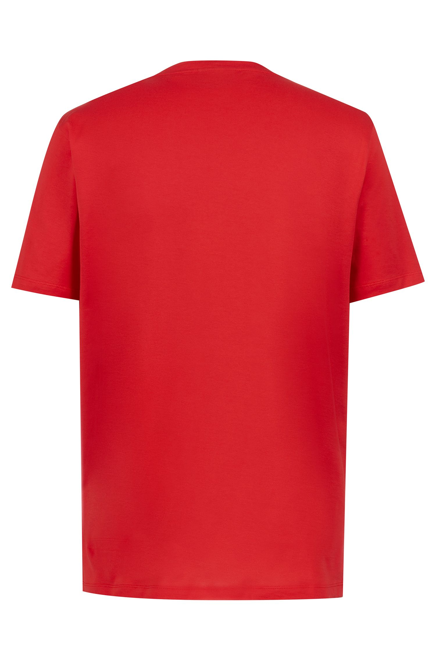 Crew-neck T-shirt in cotton with reverse-logo print, Red