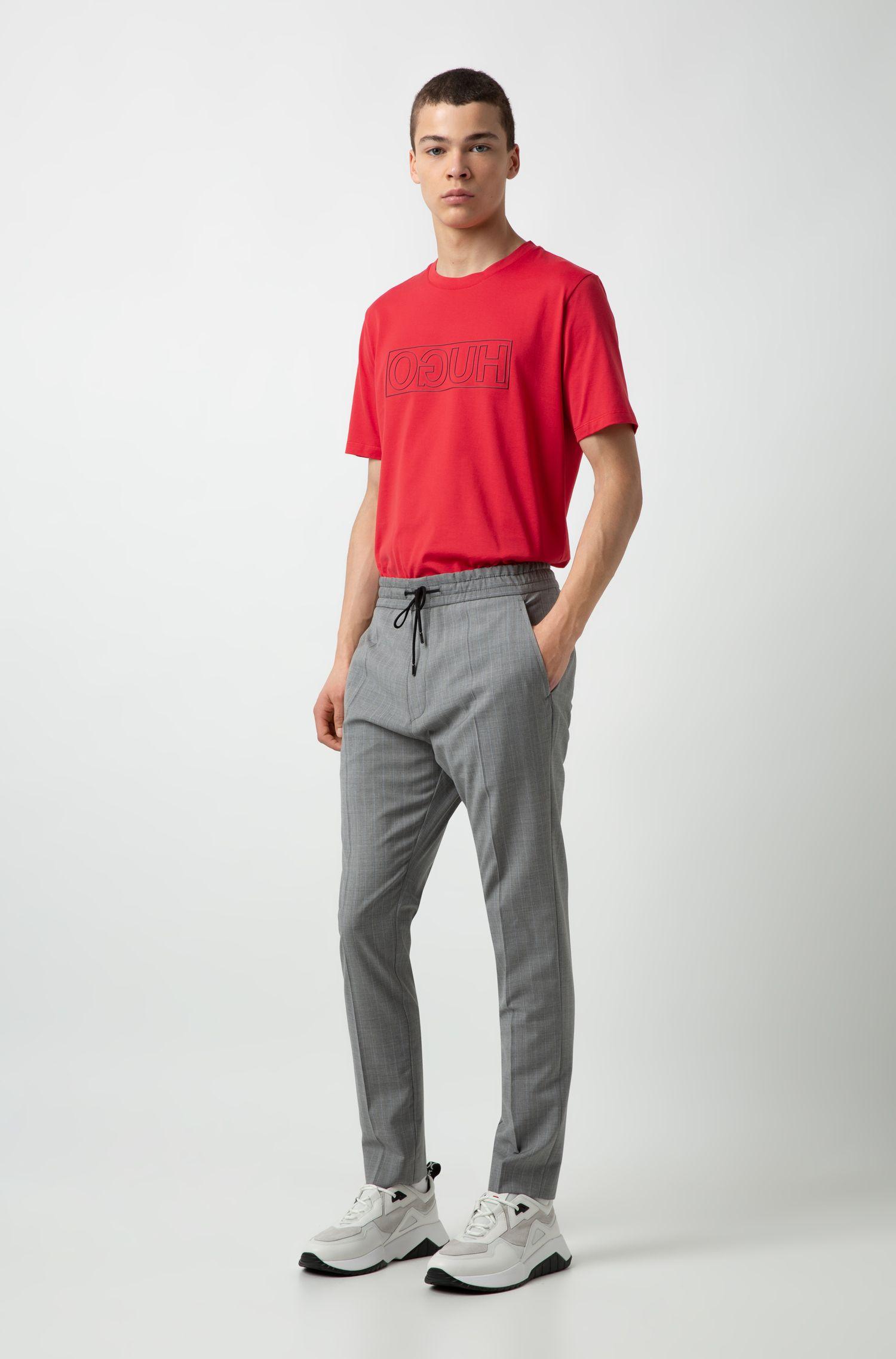 T-Shirt aus Baumwolle mit Reversed-Logo und Rundhalsausschnitt, Rot
