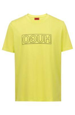 T-shirt à col ras-du-cou en coton à imprimé logo inversé, Jaune