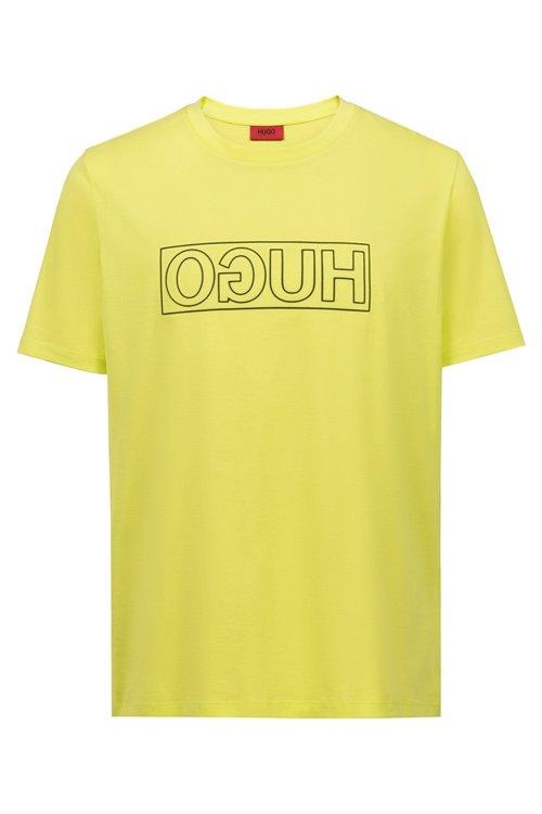 Hugo Boss - Camiseta de algodón con cuello redondo y estampado de logo invertido - 1