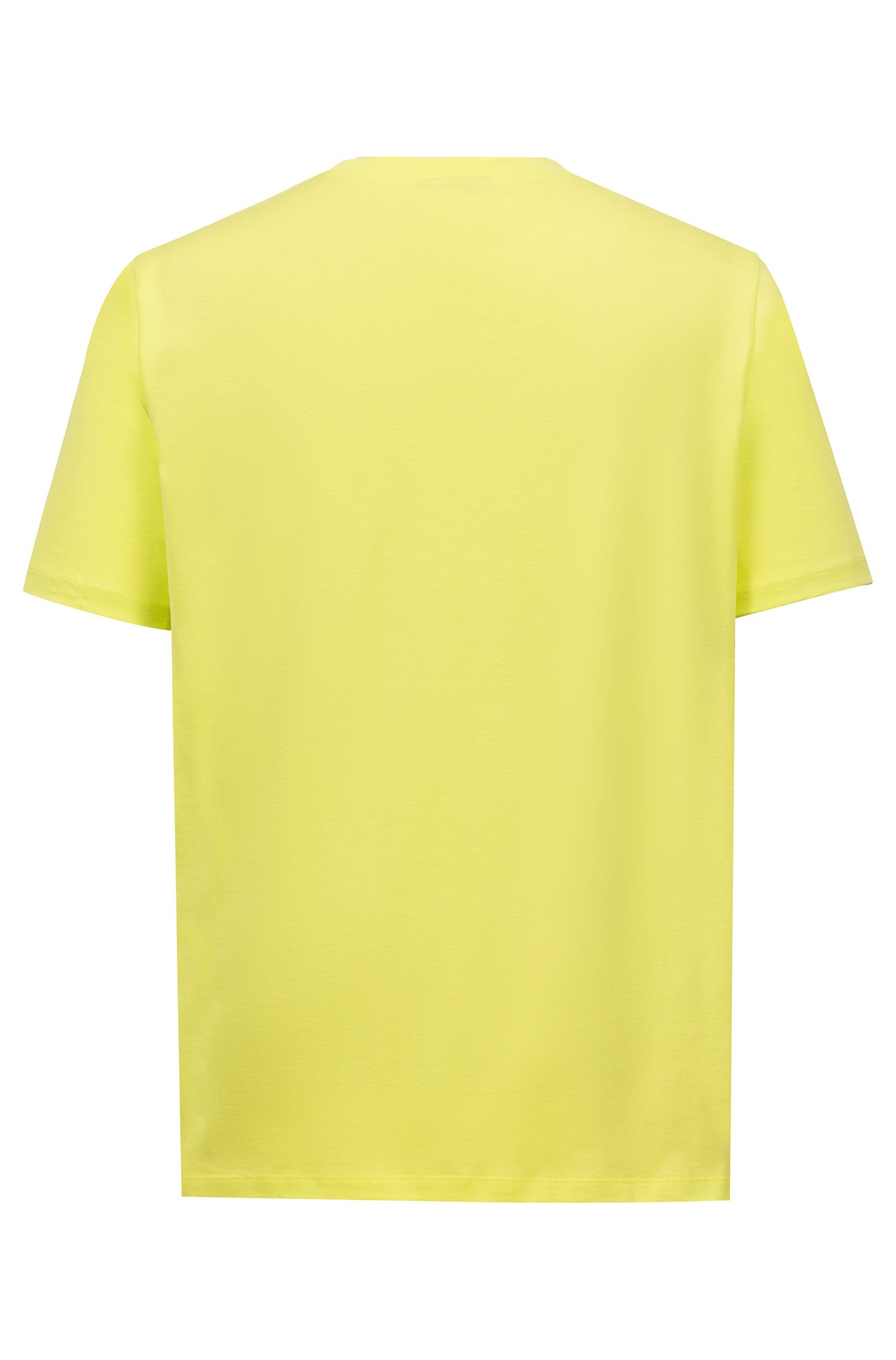 Crew-neck T-shirt in cotton with reverse-logo print, Yellow