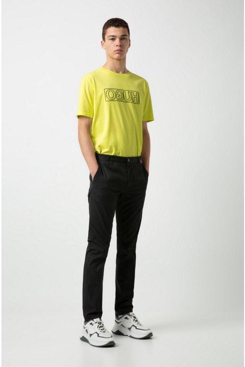 Hugo Boss - Camiseta de algodón con cuello redondo y estampado de logo invertido - 3