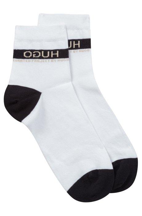 Unisex pop-colour short socks with reversed logo, White