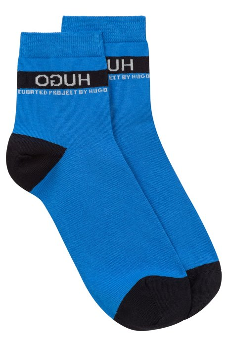 Unisex pop-colour short socks with reversed logo, Blue