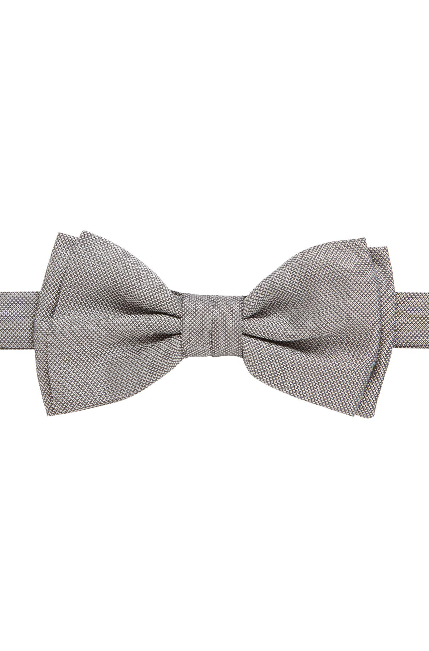 Pre-tied bow tie in micro-pattern silk, Open Grey