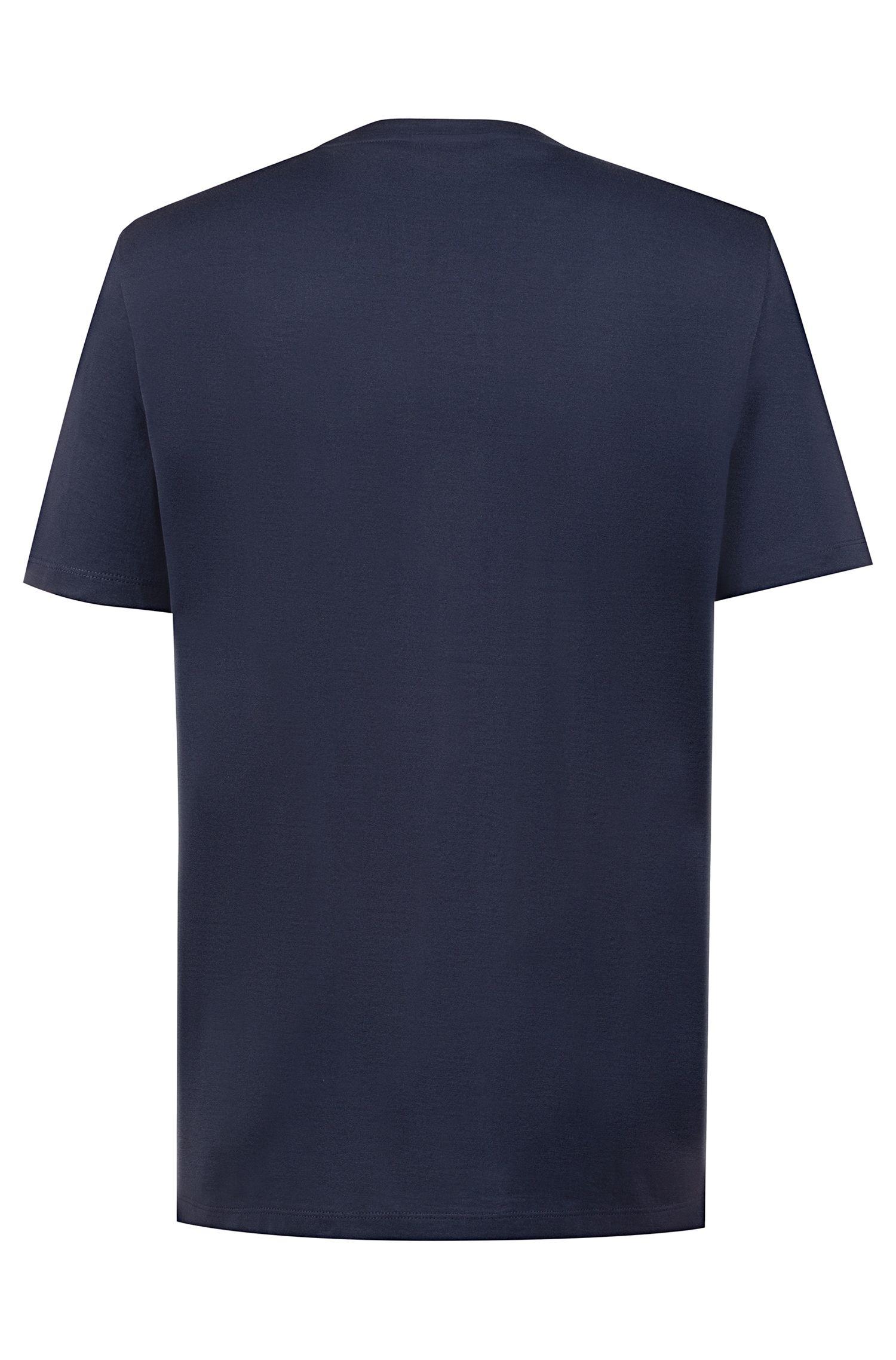 T-shirt in cotone con logo e stampa della nuova stagione, Blu scuro
