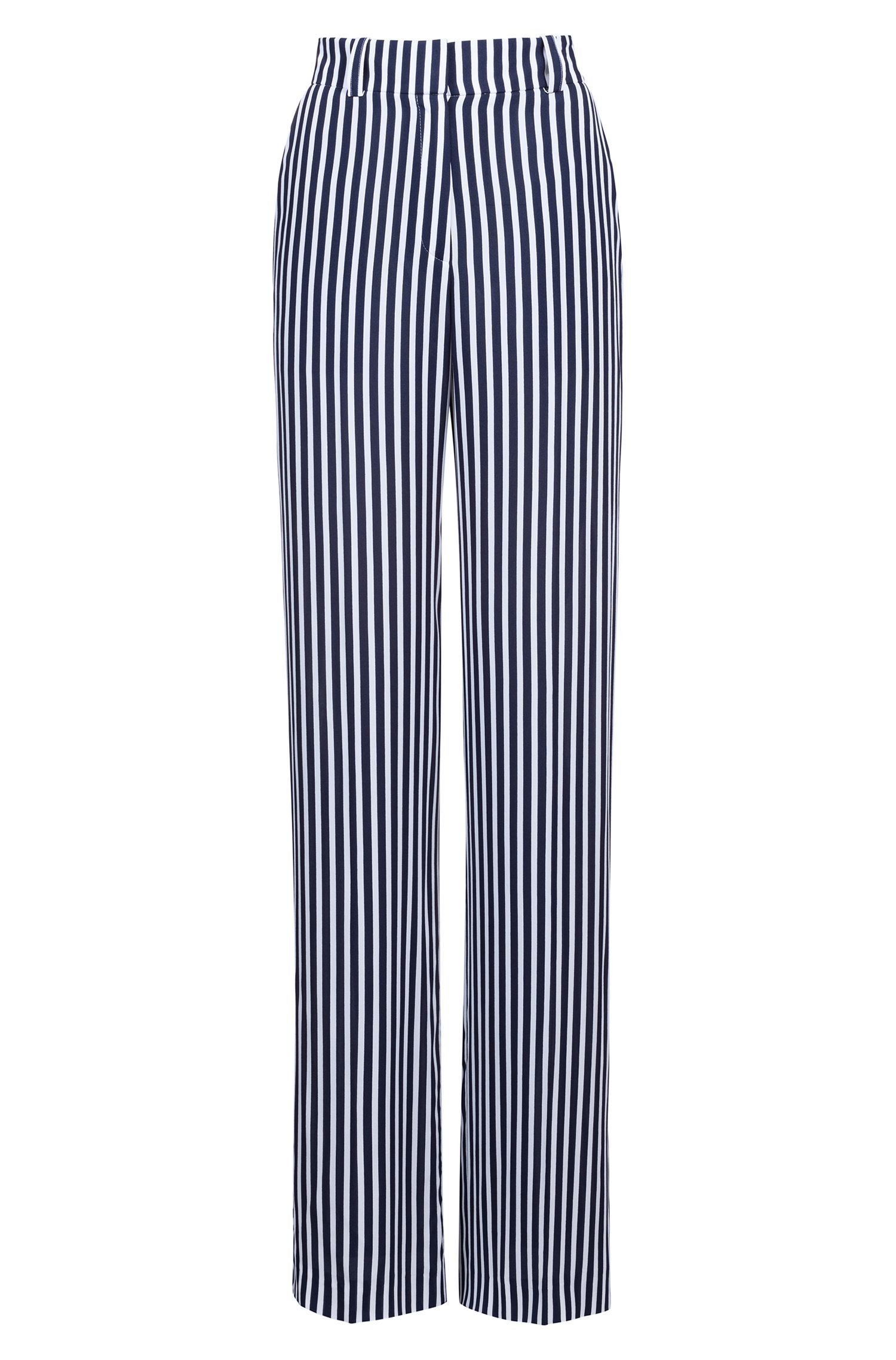 Wide-leg striped trousers with high-rise waist, Patterned