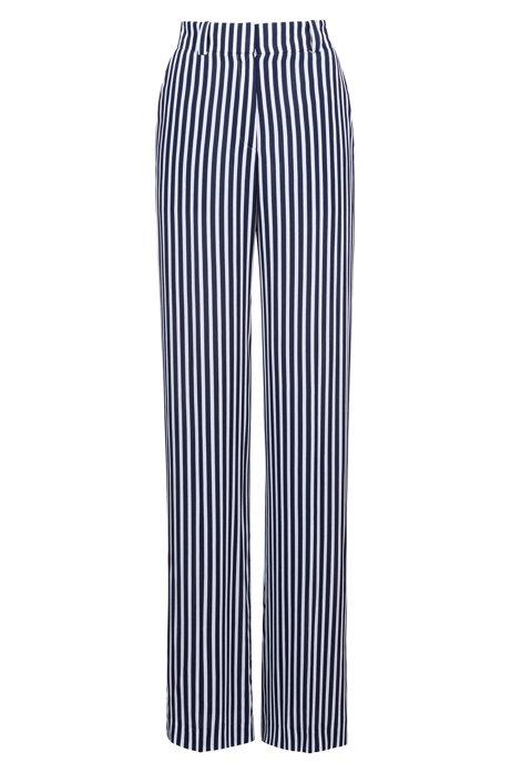 Pantalon large à rayures, à taille haute, Fantaisie