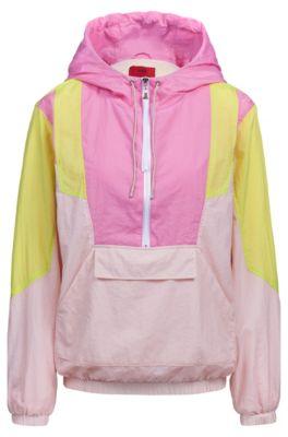 Veste Oversized Fit à capuche au design color block et à demi-fermeture éclair, Rose