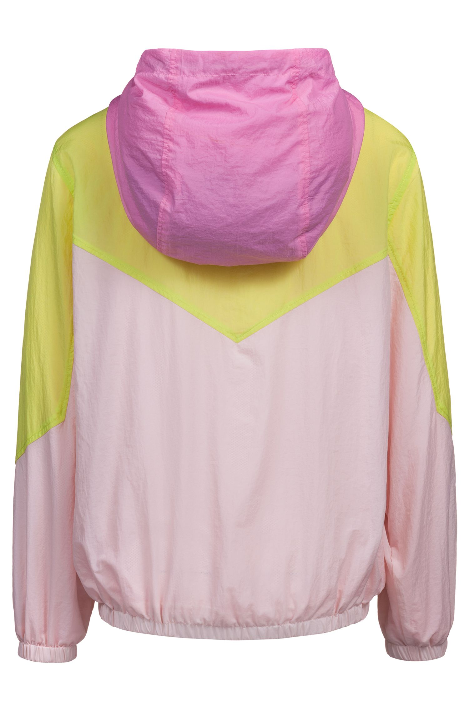 Oversized-fit hooded jacket with colourblocking and half zip, Pink