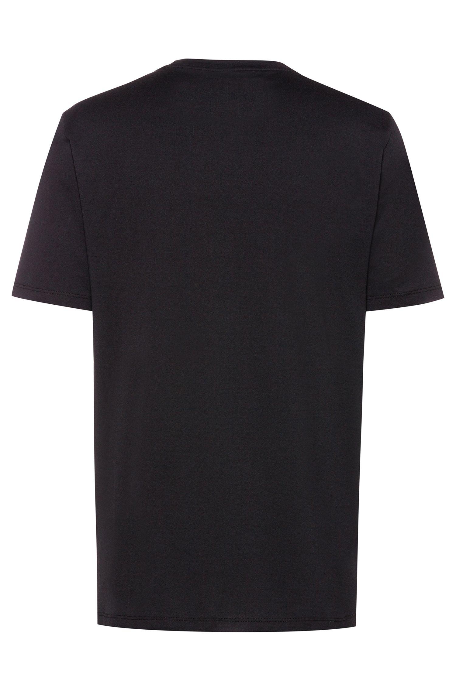 T-Shirt aus Baumwolle mit Techno-Print, Schwarz