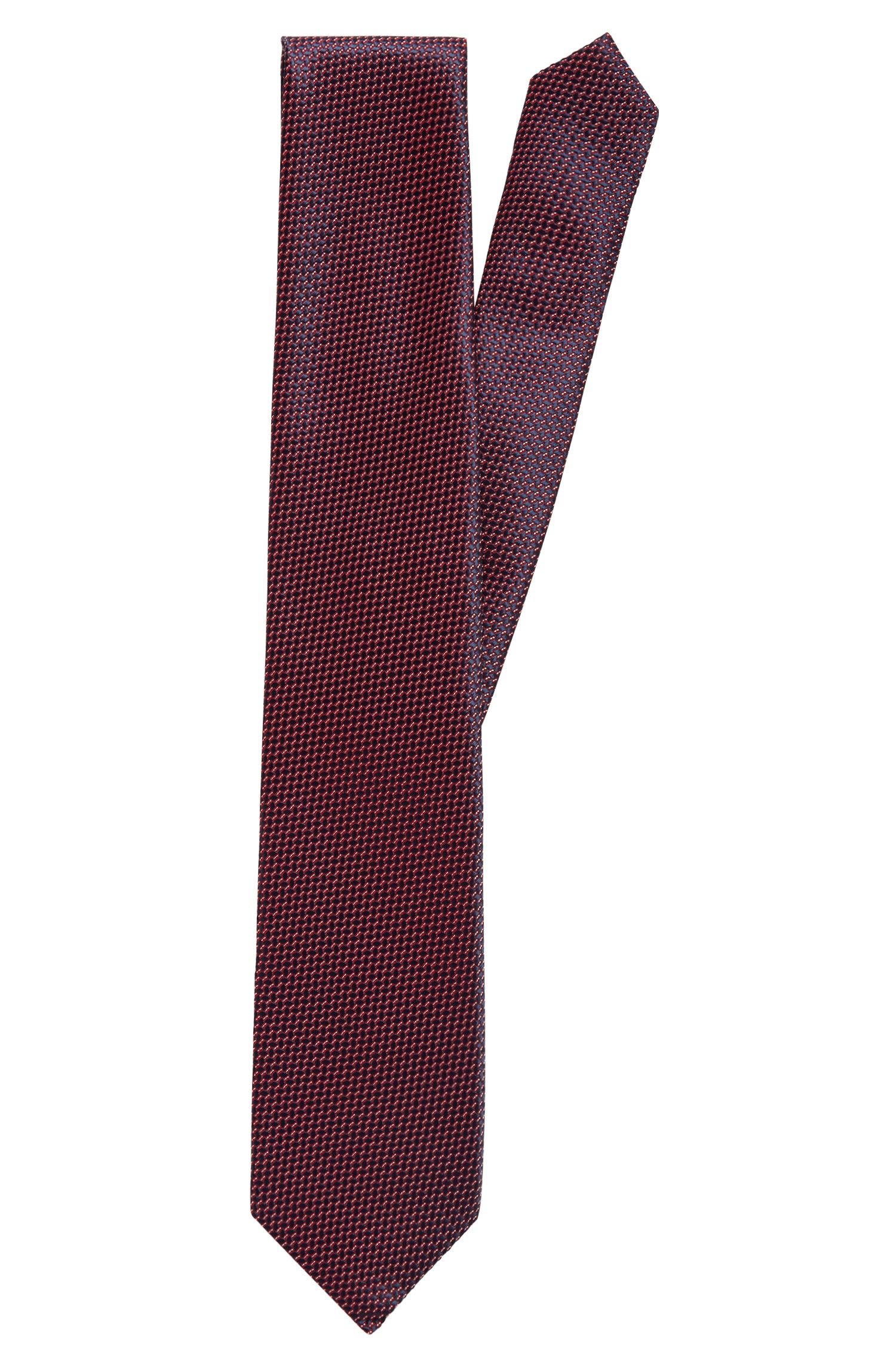 Italian-made tie in micro-patterned jacquard with silk, Red