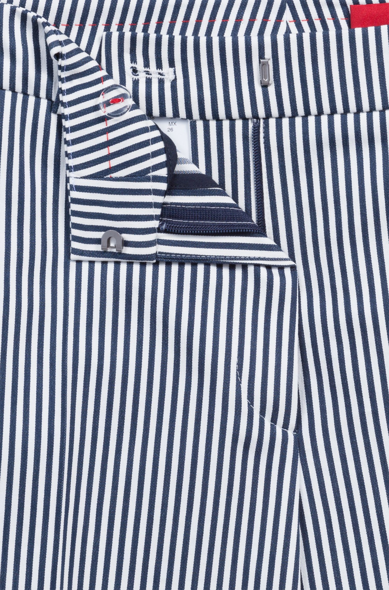 Striped cigarette trousers in a stretch-cotton blend, Patterned