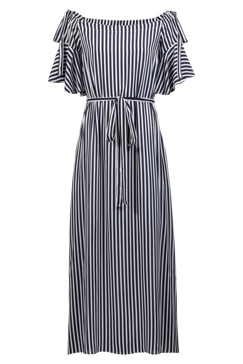Hugo Boss - Relaxed-fit striped dress with bow details - 1