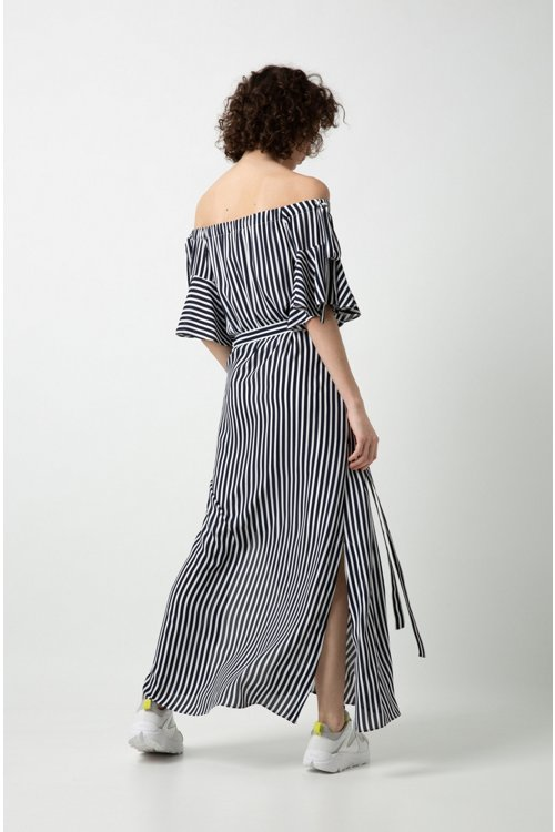 Hugo Boss - Relaxed-fit striped dress with bow details - 4