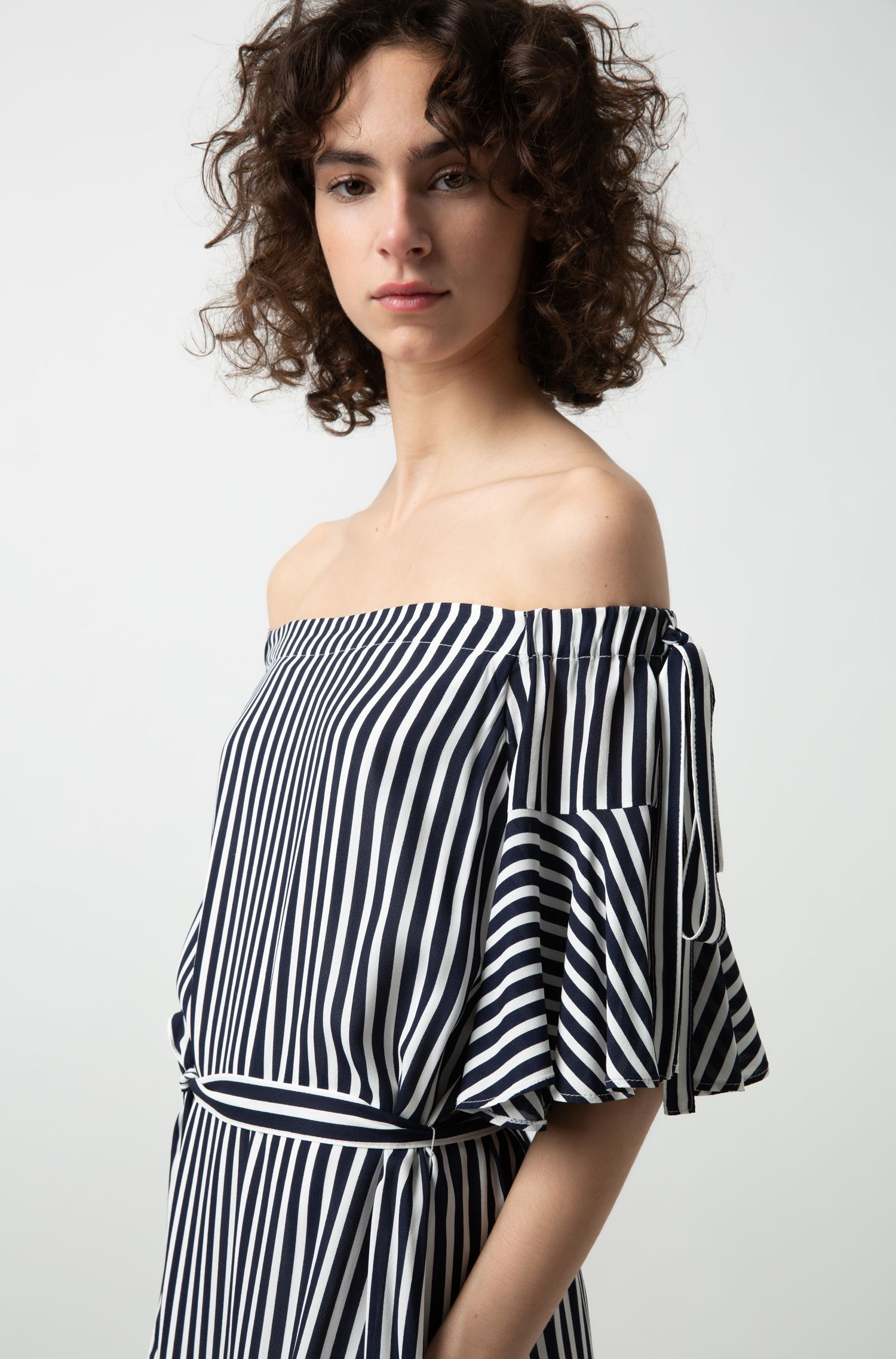 Relaxed-fit striped dress with bow details, Patterned