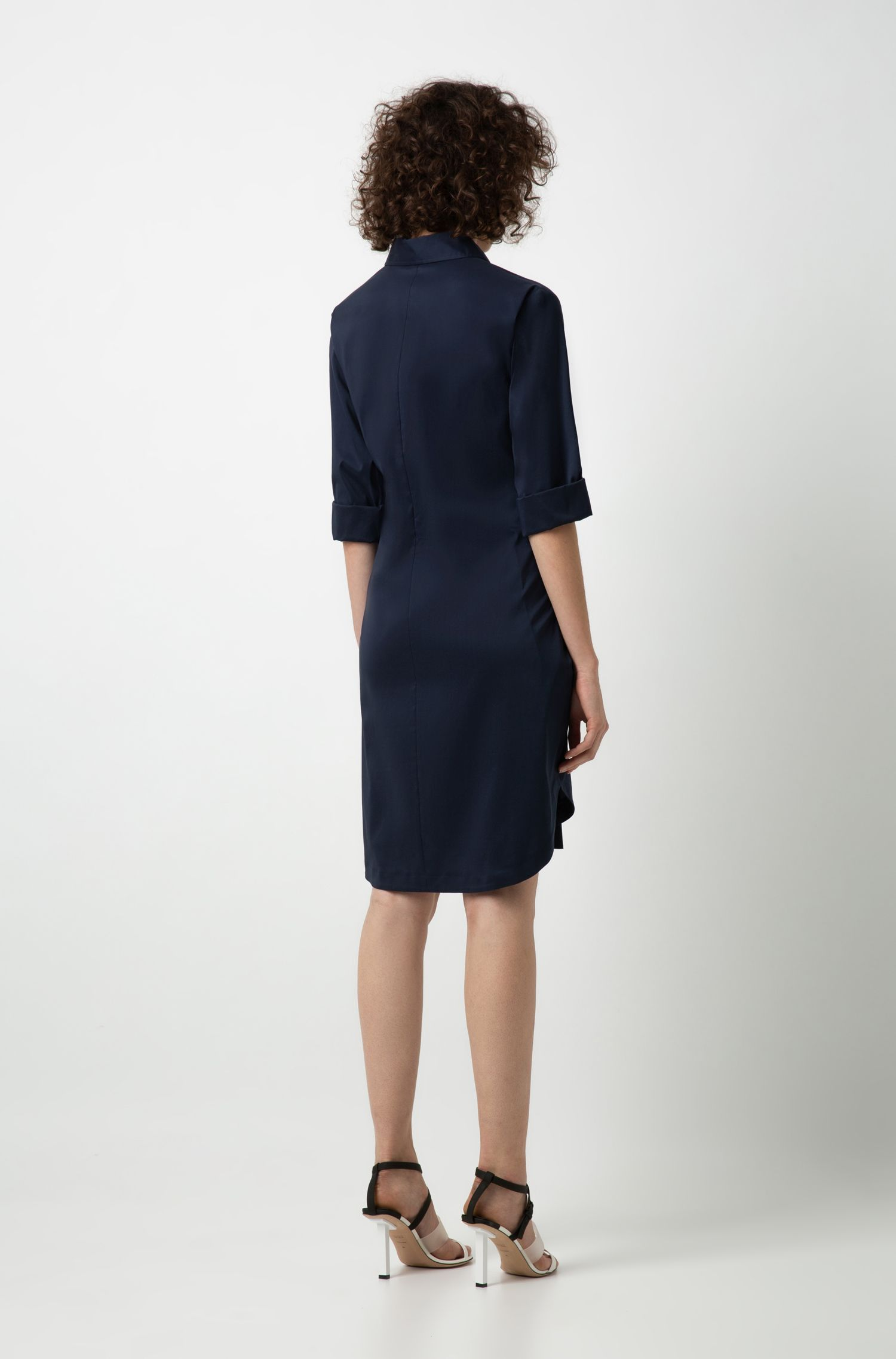 Regular-fit dress with knotted-sleeve belt, Blue