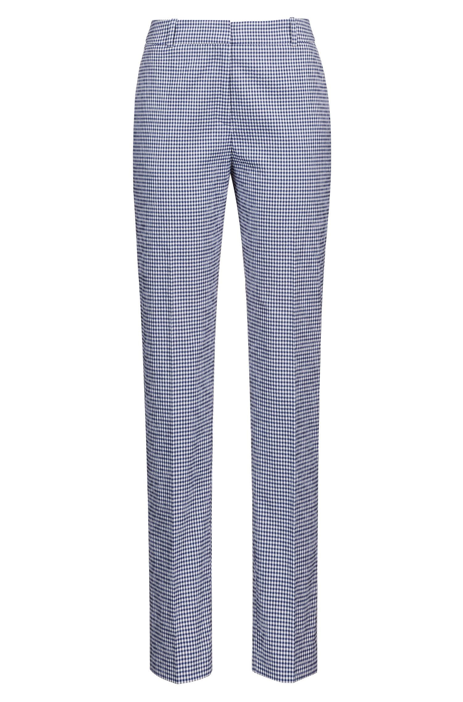 Regular-Fit Zigarettenhose aus elastischem Baumwoll-Mix mit Vichy-Karo, Gemustert