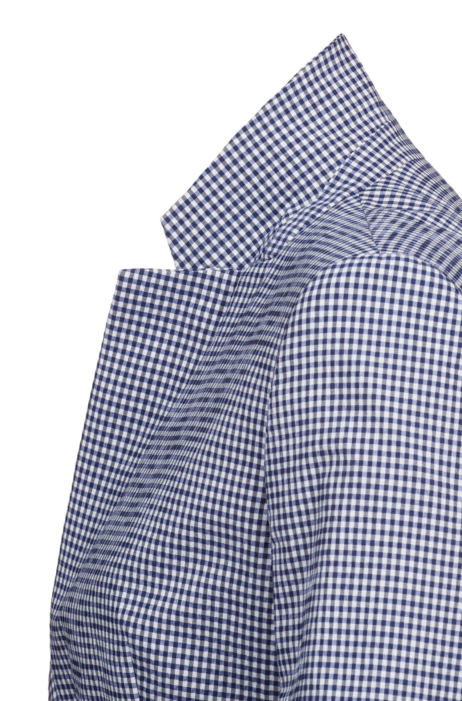 Regular-fit blazer in a checked stretch-cotton blend, Patterned