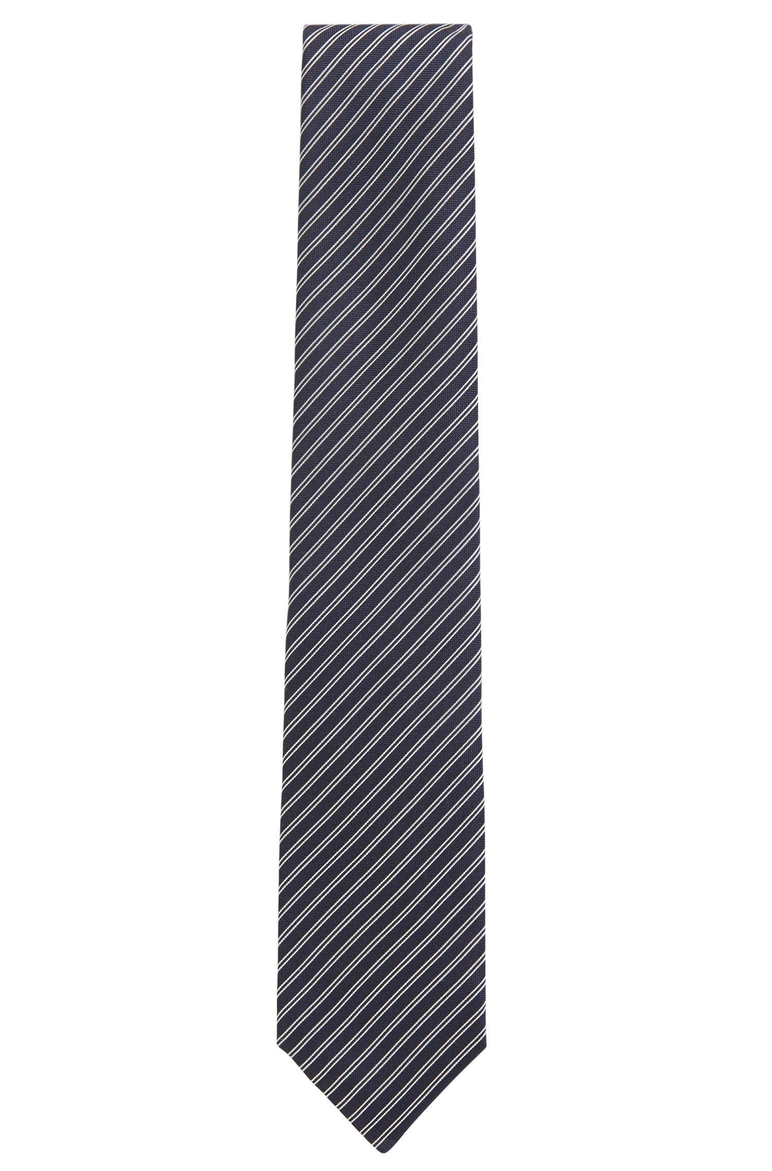Silk-jacquard tie with diagonal stripe, Open Blue