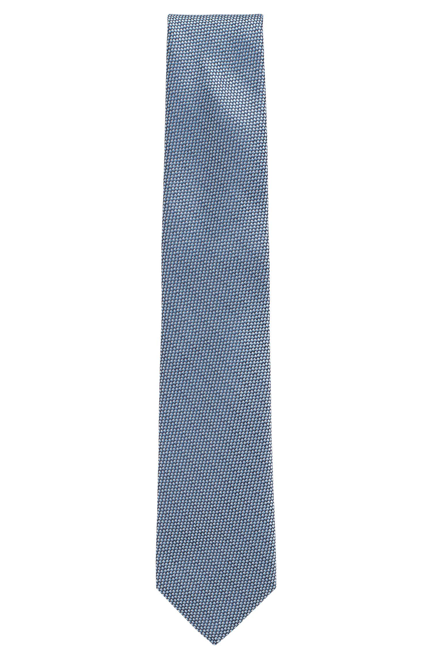 Seidenkrawatte mit filigranem Muster, Hellblau