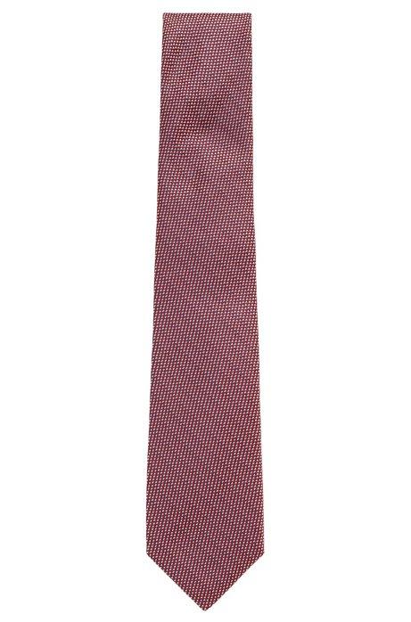Cravate en soie à micromotif, Rouge