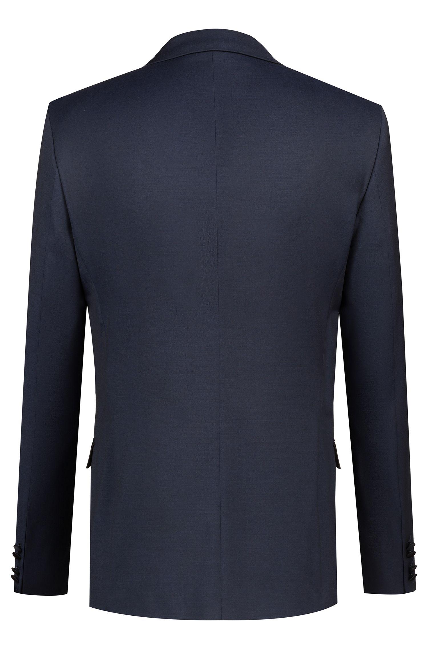 Veste Extra Slim Fit en laine vierge à finitions contrastantes, Bleu foncé