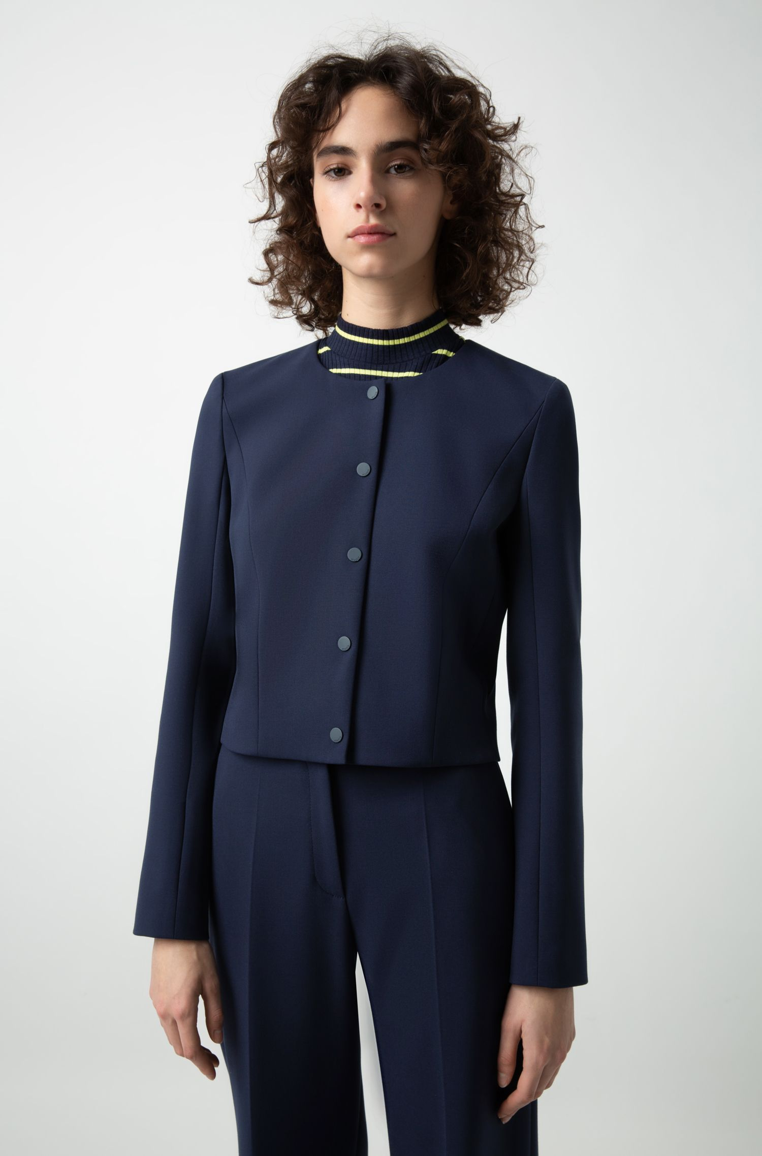 Collarless cropped jacket in stretch fabric, Blue