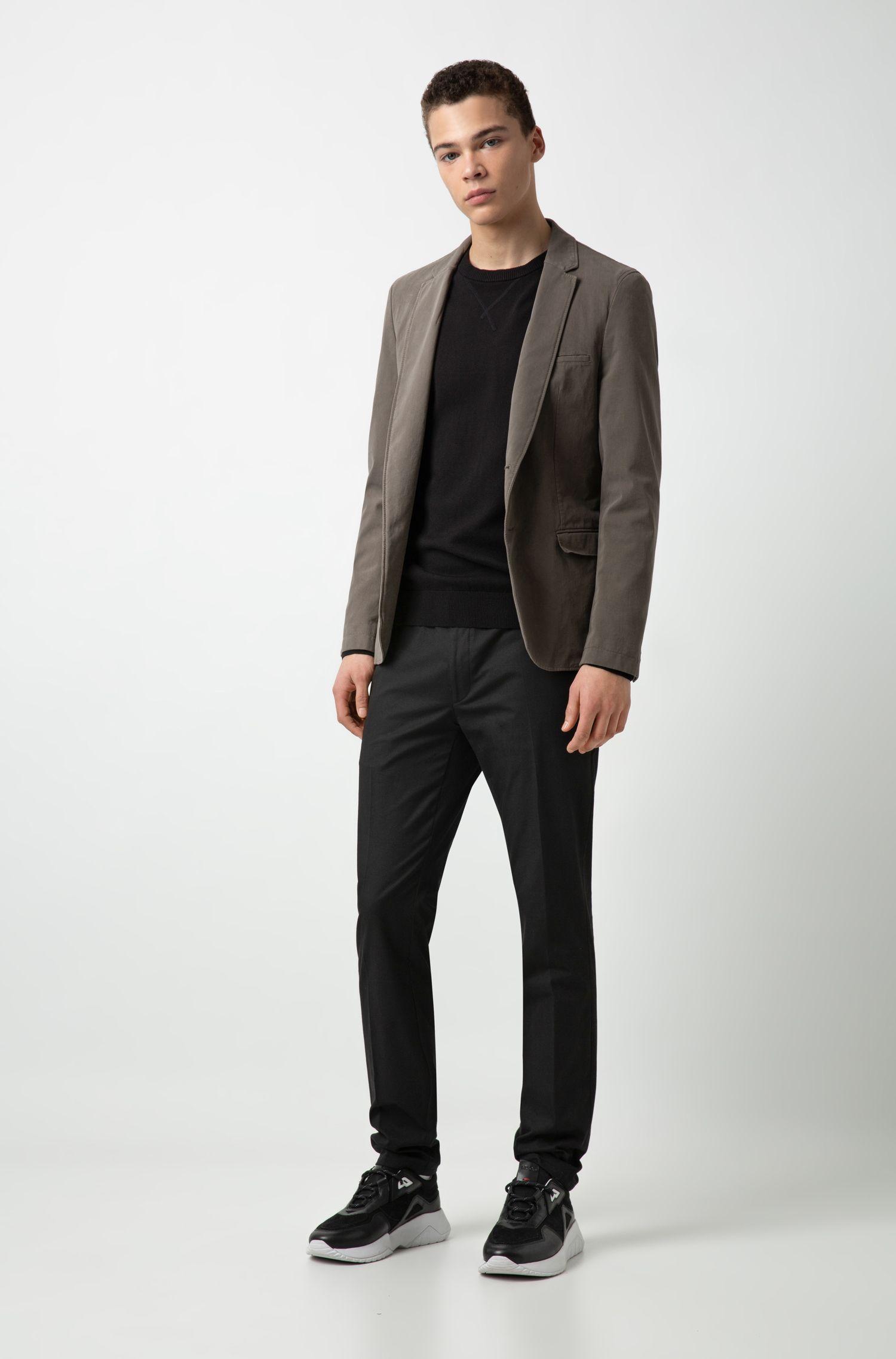Extra Slim-Fit Sakko aus Stretch-Baumwolle mit Twill-Struktur, Braun