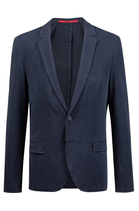 Veste en coton stretch Extra Slim Fit au tissage twill, Bleu foncé