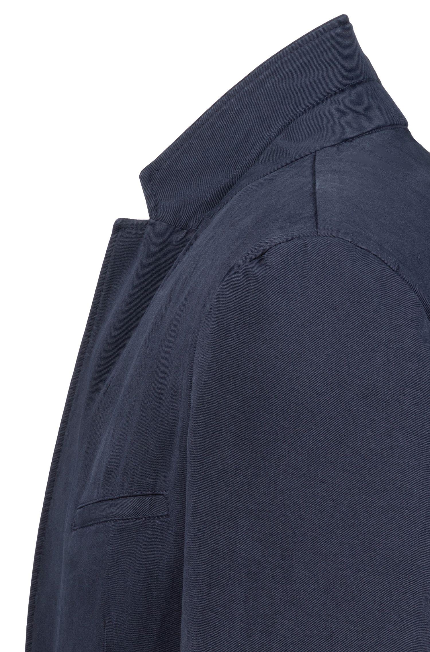 Extra Slim-Fit Sakko aus Stretch-Baumwolle mit Twill-Struktur, Dunkelblau