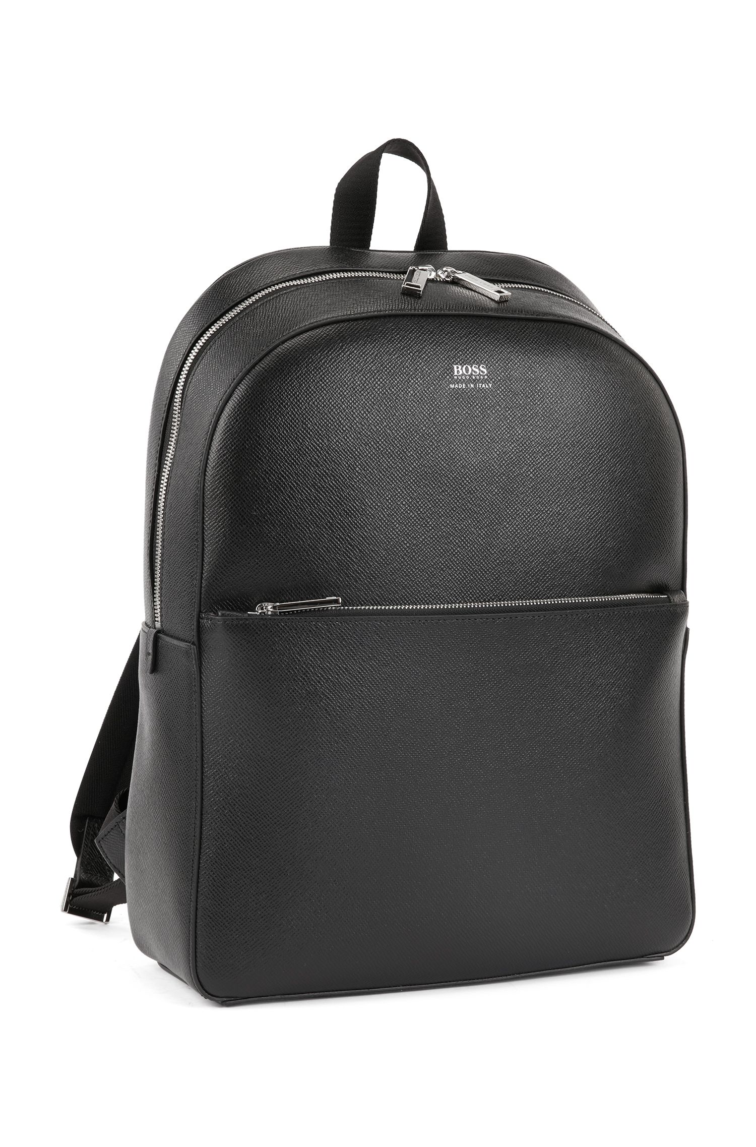 Signature Collection backpack in printed Italian calf leather, Black