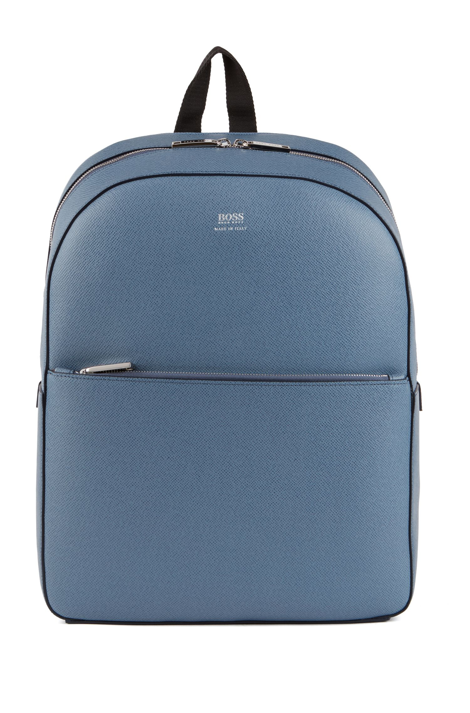 Signature Collection backpack in printed Italian calf leather, Light Blue