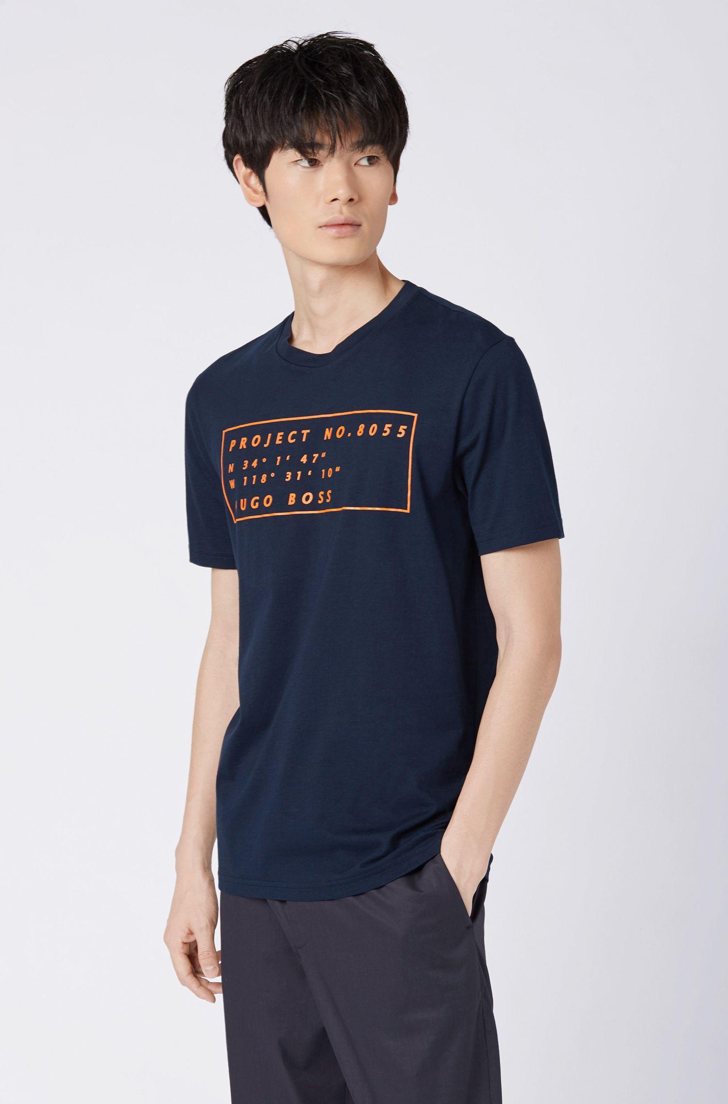 Regular-fit T-shirt met coördinatenprint van Californië, Donkerblauw