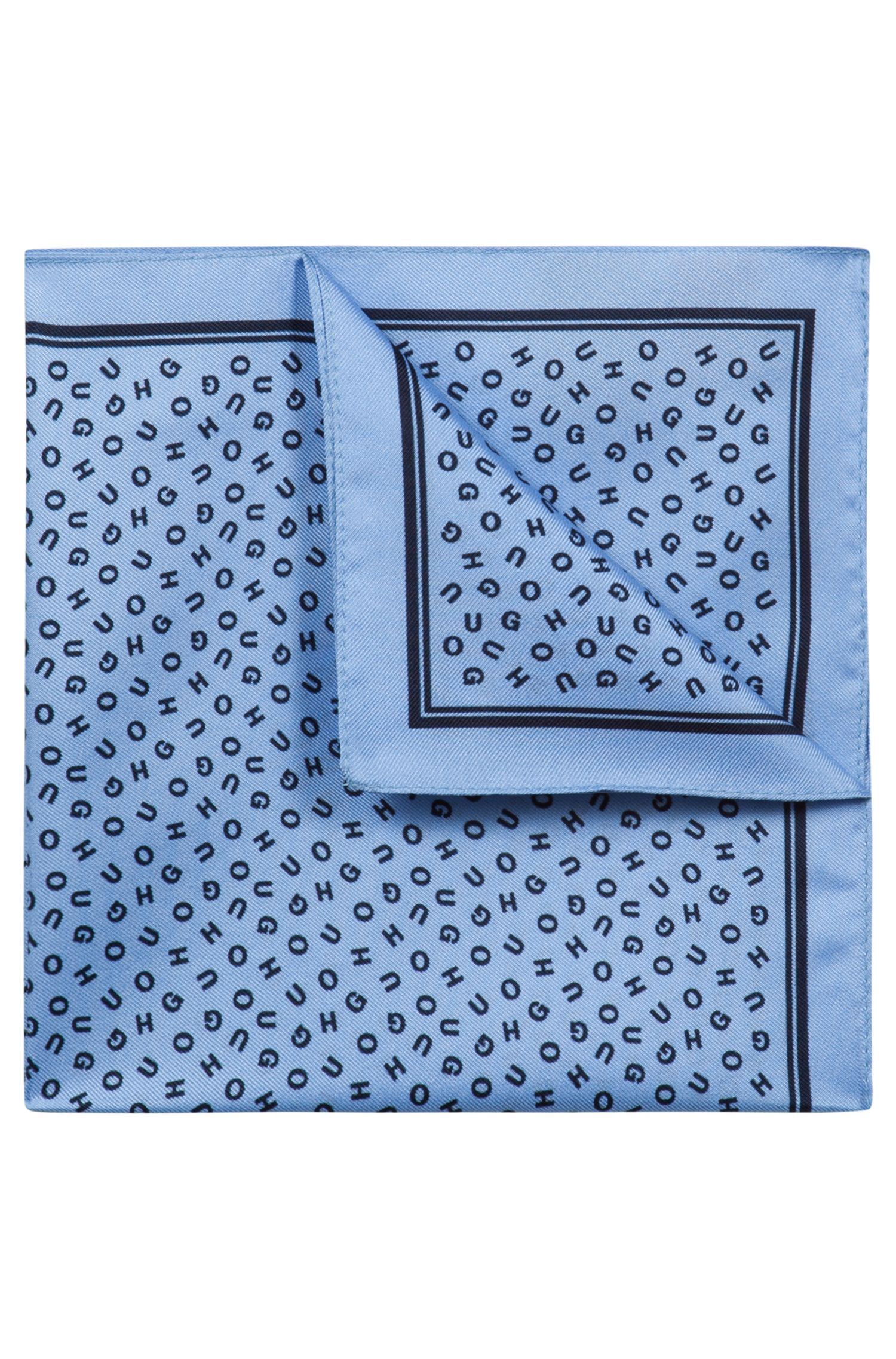Scattered logo pocket square in silk twill, Open Blue