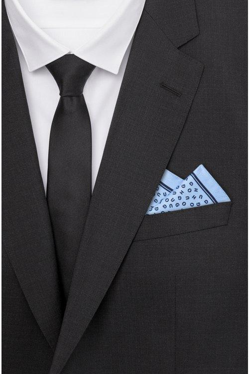 Hugo Boss - Einstecktuch aus Seiden-Twill mit Logo-Muster - 2