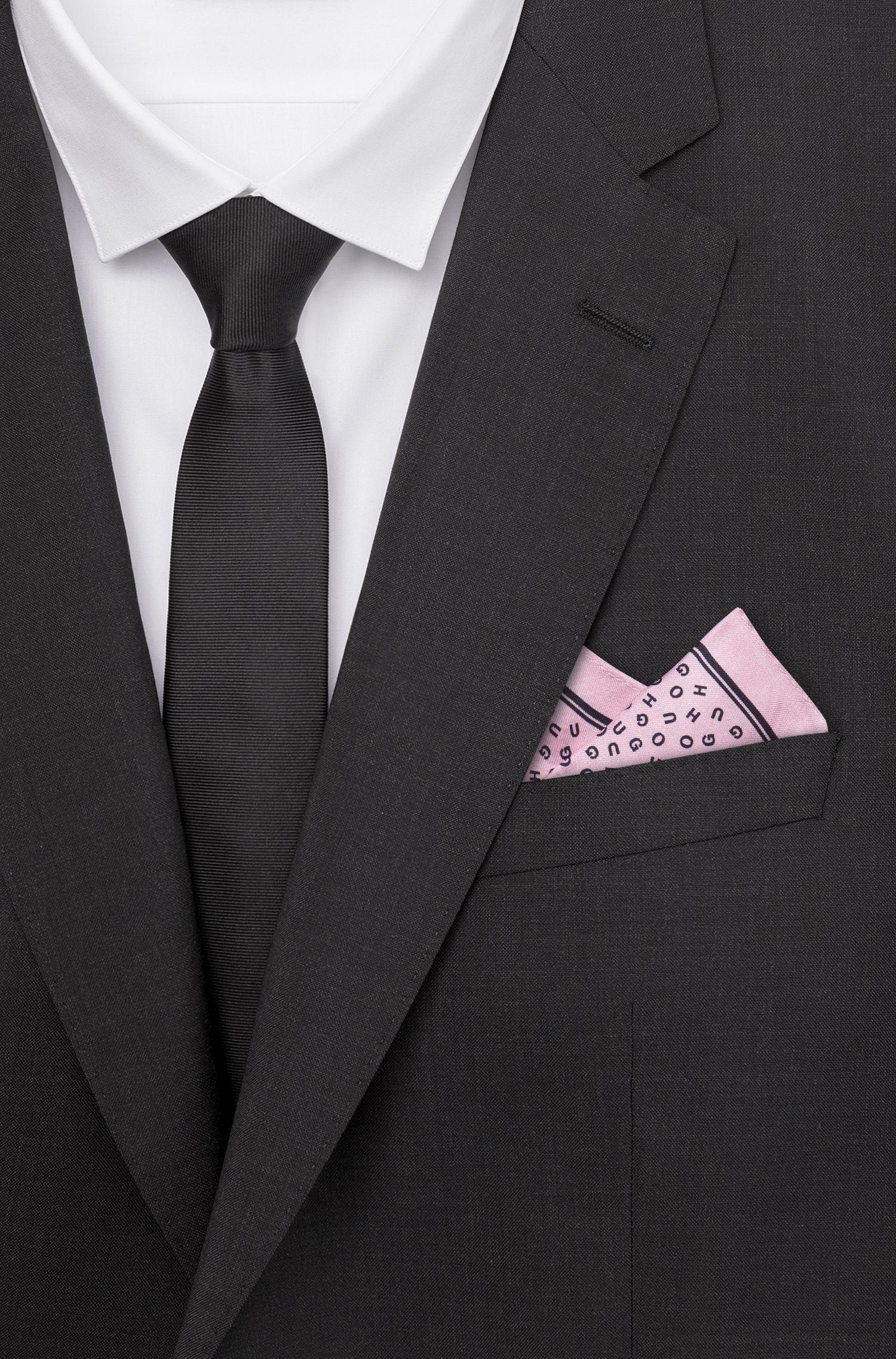 Carré de poche à logos en twill de soie, Rose clair