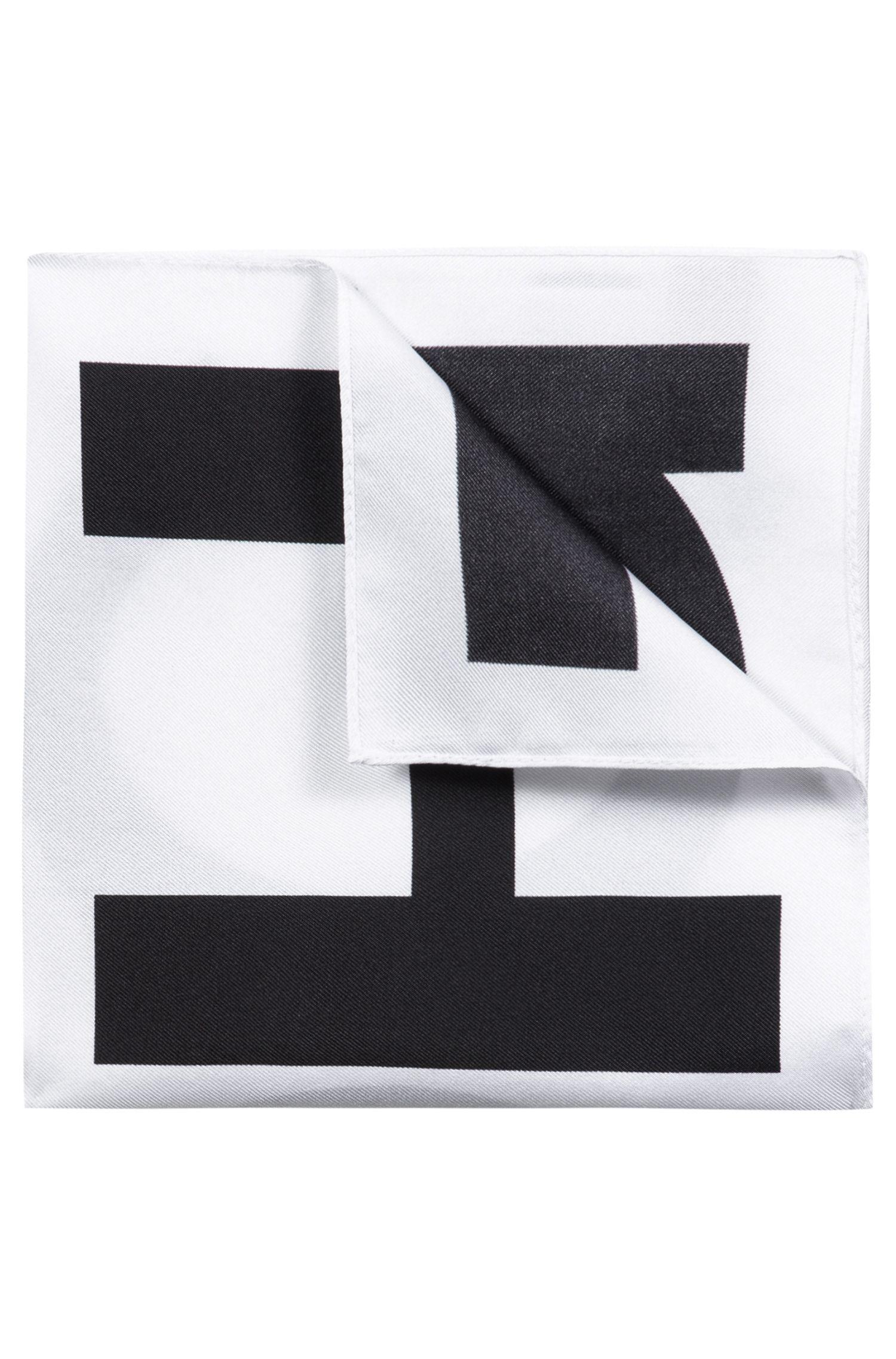 Carré de poche en pure soie à logo imprimé, Noir