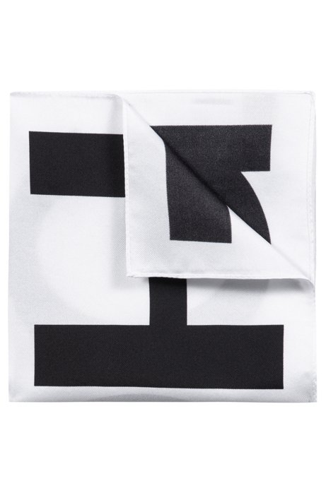 Pocket square in pure silk with logo print, Black