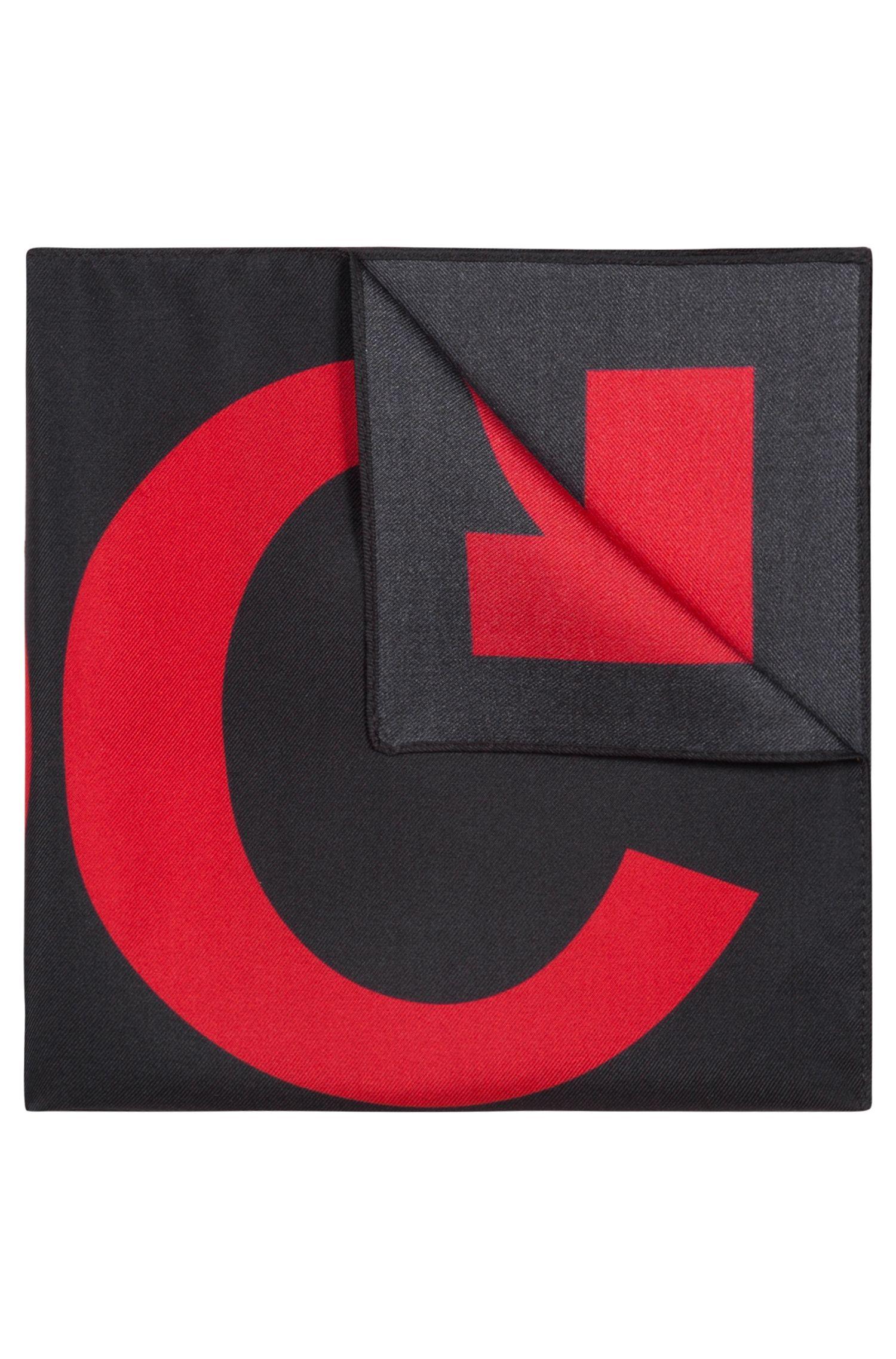 Einstecktuch aus reiner Seide mit Logo-Print, Hellrosa