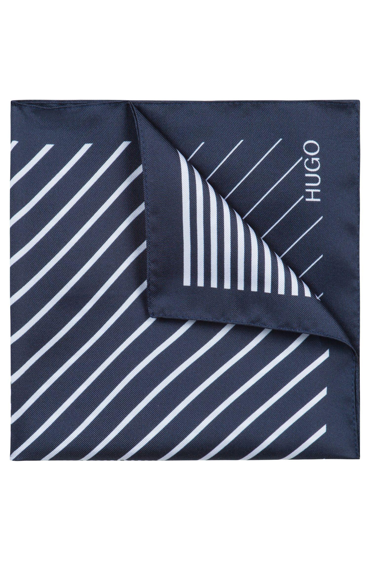 Pochet van zijden twill met onregelmatige strepen, Donkerblauw