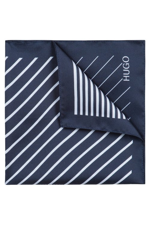Hugo Boss - Silk-twill pocket square with irregular stripes - 1