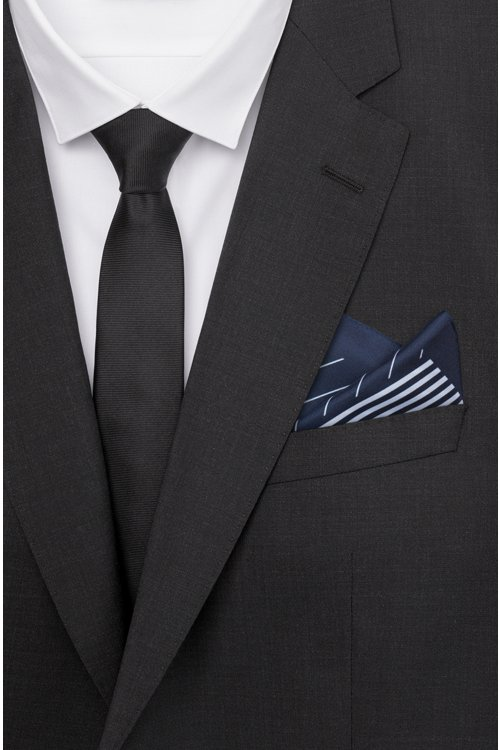 Hugo Boss - Silk-twill pocket square with irregular stripes - 2