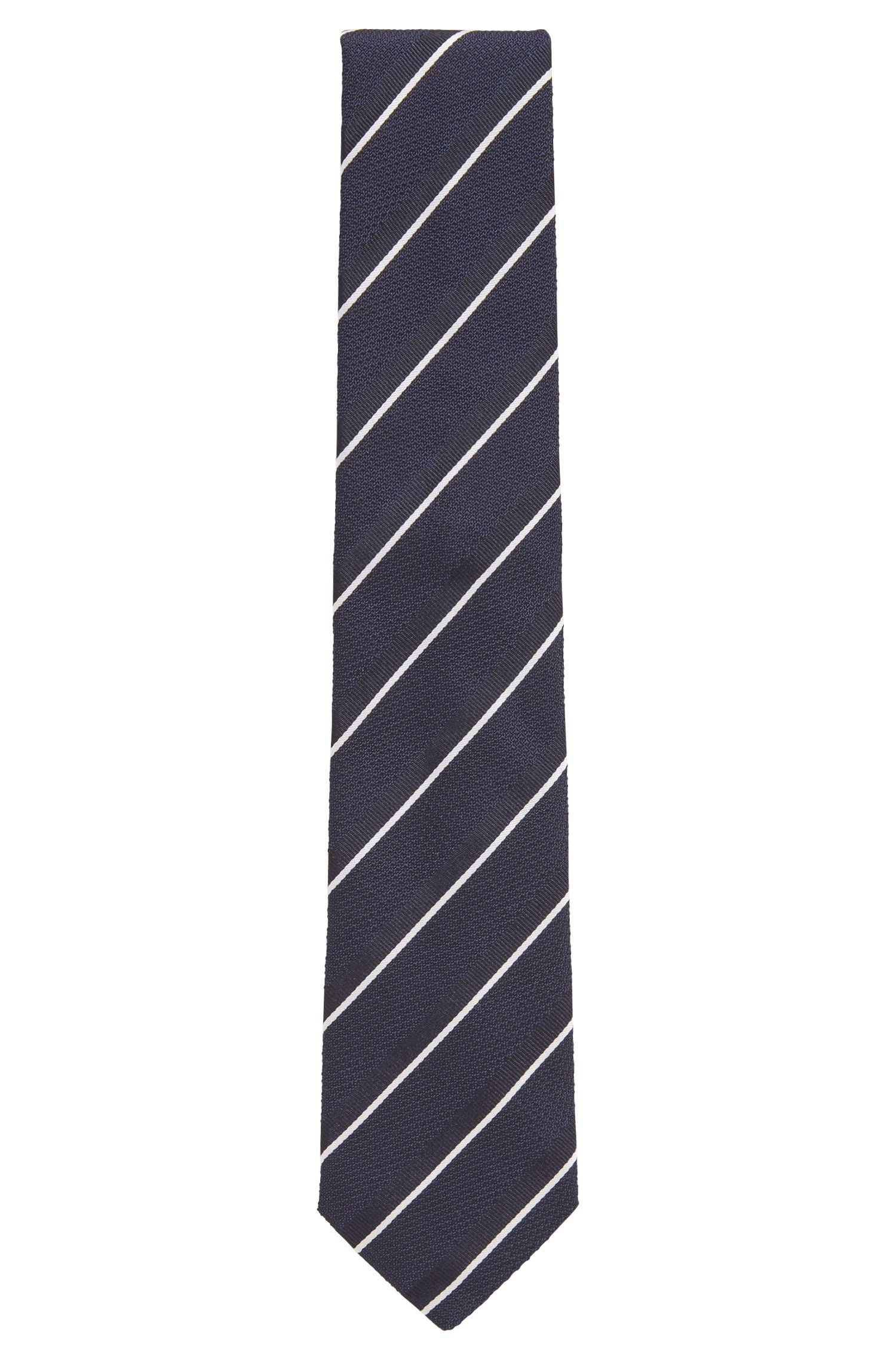 Cravate en soie à rayures en diagonale, Bleu vif