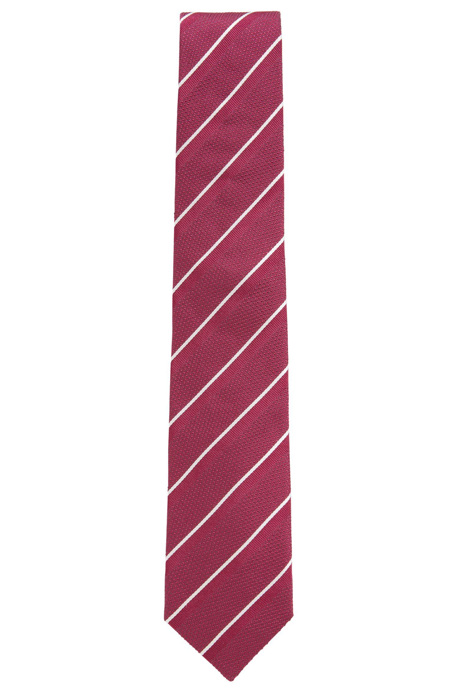Silk tie with diagonal stripe, Pink