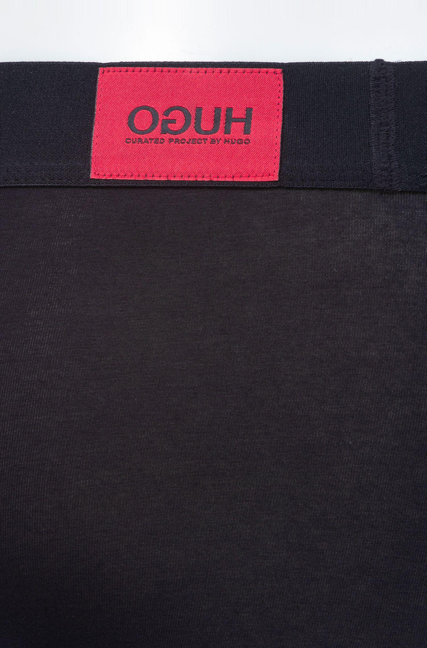 Boxershorts aus Stretch-Baumwolle mit Reversed-Logo, Schwarz